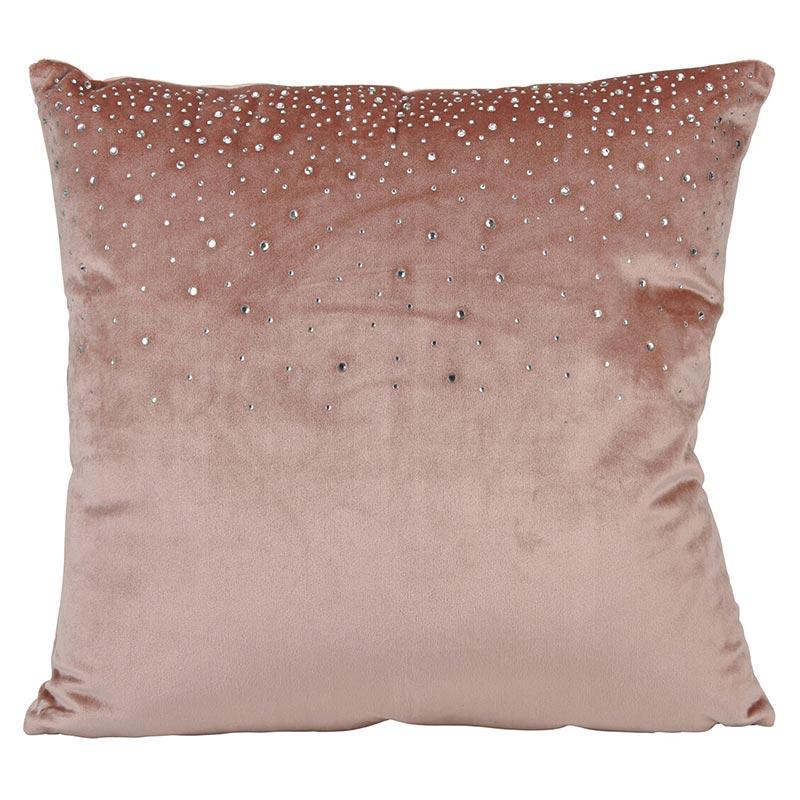 Μαξιλάρι Βελούδινο Ροζ Με Στρας 45x45 | ZAROS